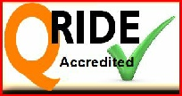 Learn2ride Qride accredited logo.  Qride course  information and details .